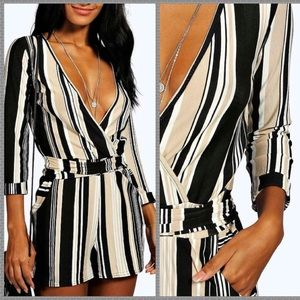 NWT ASOS striped belted romper with pockets floral